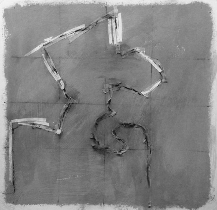 Alec Shepley 2016 %22DelhiDRiFT#5%22 graphite, ink, tape and chalk paint on paper (30cm x 30cm)