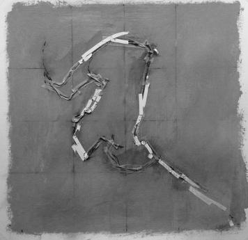 Alec Shepley 2016 %22DelhiDRiFT#6%22 graphite, ink, tape and chalk paint on paper (30cm x 30cm)