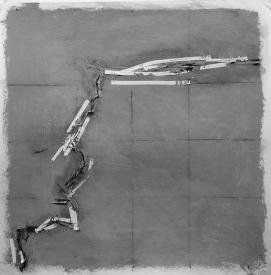 Alec Shepley 2016 %22DelhiDRiFT#7%22 graphite, ink, tape and chalk paint on paper (30cm x 30cm)