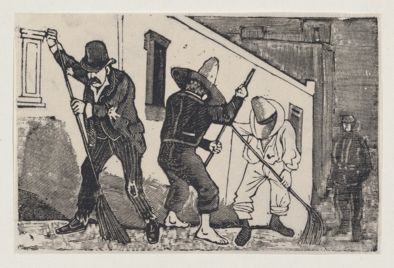 A group of men sweeping the street 1880-1910 José Guadalupa Posada
