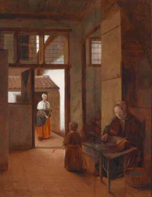 Interior with a Woman and Child and through doorway a Maid sweeping ca. 1655–1656