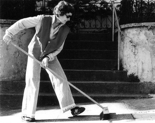 Jo Hanson sweeping at Buchanan Street SF c. 1980