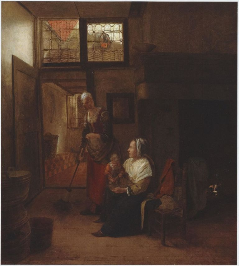 Pieter de Hooch - Interior with mother and child and a maid sweeping ca. 1655-1657