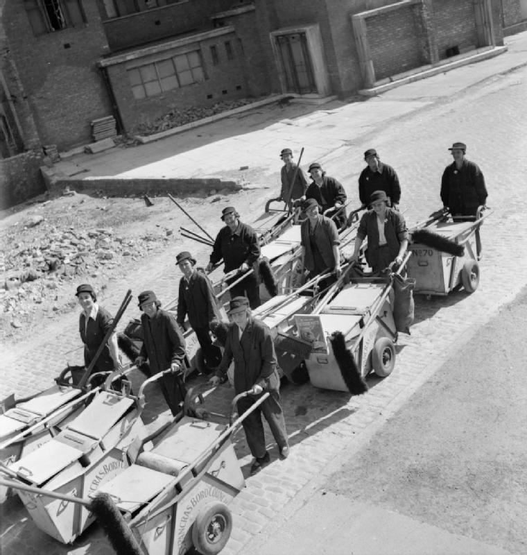 Women's Street Cleaning Brigade- Female Dustmen at Work, London, 1942